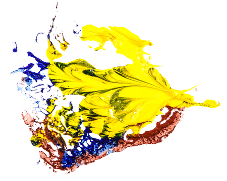 stain of blue, yellow and red oil paint. smear on white background