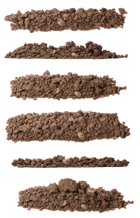 pile of soil for plants isolated on white. Set