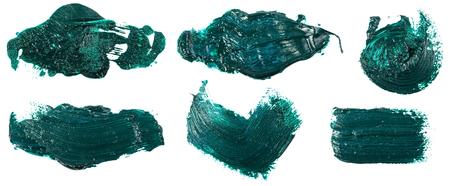 smudge green oil paint on white. Set Фото со стока - 122712321