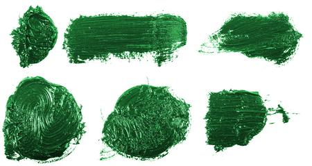 smudge green oil paint on white. Set Stok Fotoğraf