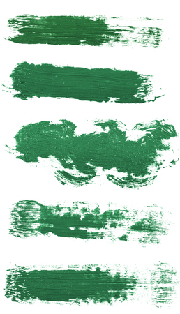 Smear of green paint isolated on white. Set