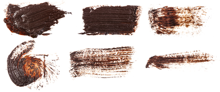 Stain of oil brown paint on white. Set Stok Fotoğraf