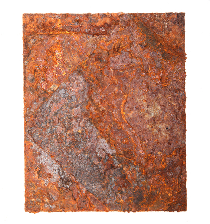A piece of rusty metal isolated on a white