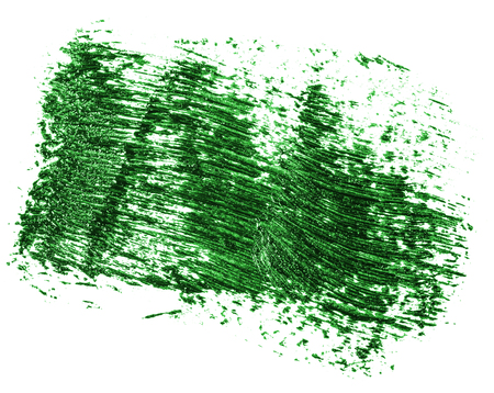 Stain of oil green paint on white background