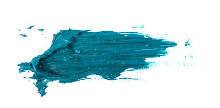 smudge turquoise oil paint on white Imagens