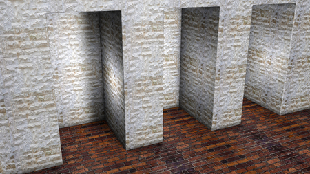 stone niches in the wall. 3D rendering Stock Photo