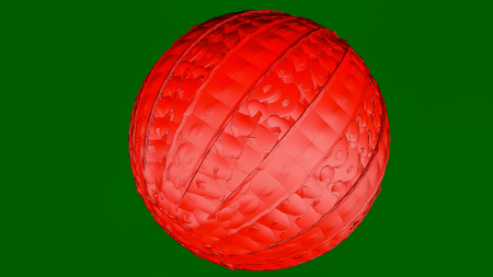 three-dimensional model of the abstract sphere. on a green. 3D rendering