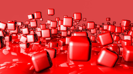 red three-dimensional cubes. background. 3D rendering