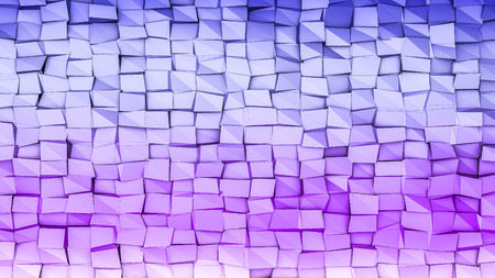 blue violet low polygonal background with black squares. 3D rendering