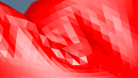 red low polygonal. 3D rendering