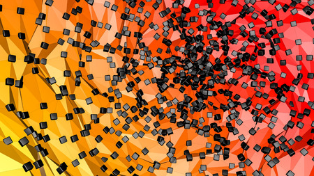 red orange low polygonal background with black. abstraction. 3D rendering