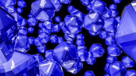 blue three-dimensional crystals. abstract. 3D rendering Фото со стока