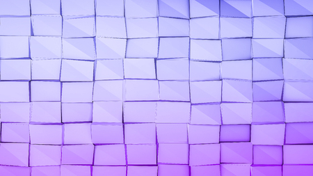 blue violet low polygonal background with black squares.. 3D rendering