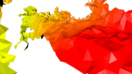 red orange abstract figure. low-poly. 3D rendering