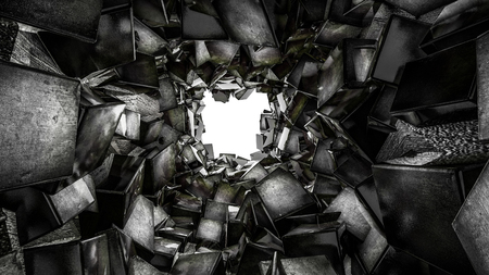 tunnel is lined with glossy dark three-dimensional cubes. abstract. 3D rendering