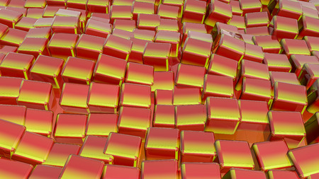 red-orange glossy three-dimensional cubes. background. 3D rendering