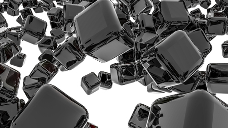 dark glossy three-dimensional cubes. abstract. 3D rendering Фото со стока - 123005322