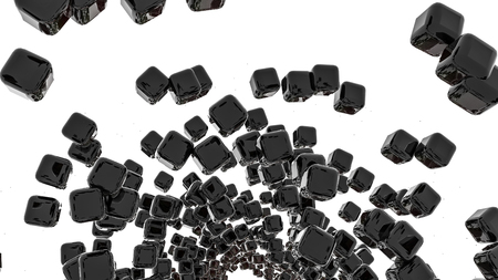 dark glossy three-dimensional cubes. abstract. 3D rendering