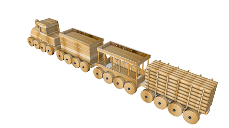 wooden train with wagons on a white. 3D rendering