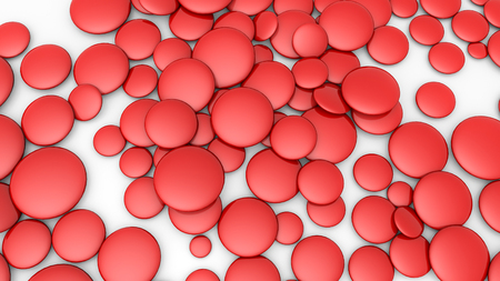 red three-dimensional ovals on a gray background. 3d rendering Stock Photo