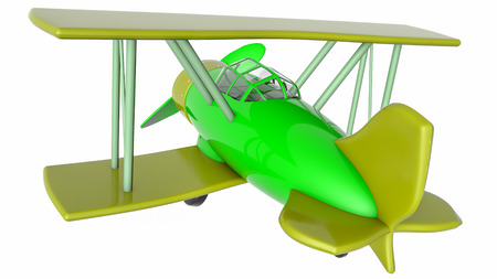 model of a toy biplane on a white background. 3D rendering