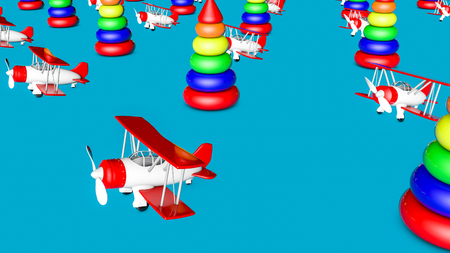 toy biplane and childrens pyramid on a blue background. llustration. 3d rendering