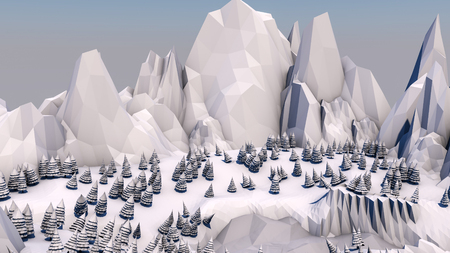 Low poly forest landscape. Illustration. Spruce forest and mountains. 3d render Stockfoto