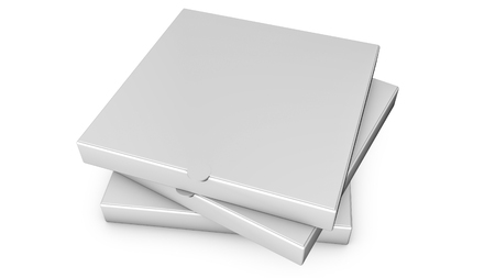 Stacks of pizza boxes. Template for advertising. 3d render