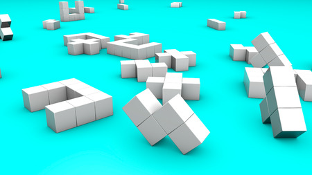 White three-dimensional cubic figures are lying on a turquoise. 3d render