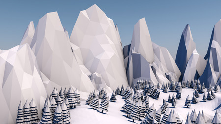 Low poly forest landscape. Illustration. Spruce forest and mountains. 3d render Foto de archivo