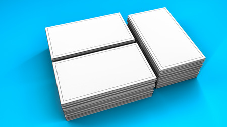 Stacks of white blank business cards on turquoise. 3d render