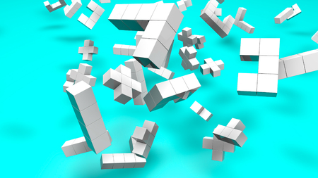 White three-dimensional cubic figures are 3d render