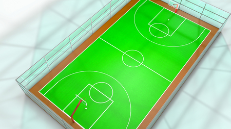 Three-dimensional basketball court. 3d render