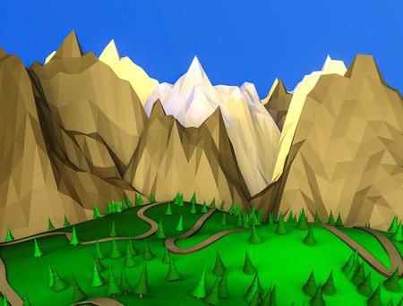 low poly desert landscape. 3D rendering Stockfoto