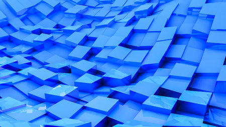 blue convex cubes three-dimensional. abstract illustration. 3d RENDERING Stock Photo