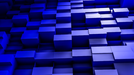 blue convex cubes three-dimensional background. abstract illustration. 3d RENDERING