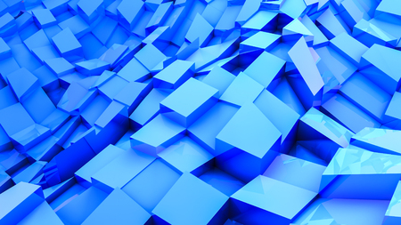 blue convex cubes three-dimensional. abstract illustration. 3d RENDERING Фото со стока