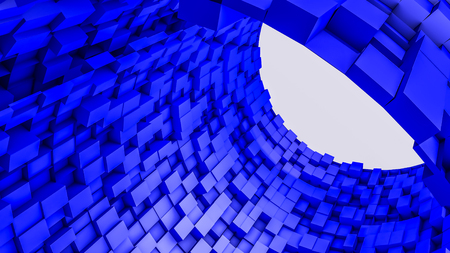 dark blue convex cubes three-dimensional background. abstract illustration. 3d RENDERING Фото со стока