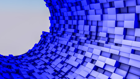 dark blue convex cubes three-dimensional background. abstract illustration. 3d RENDERING Stock Photo