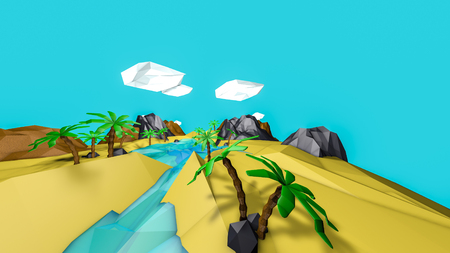 low poly desert landscape with palm trees. 3d render 版權商用圖片