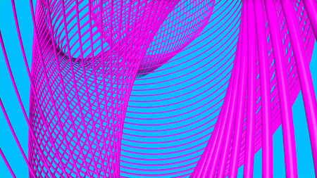 purple three-dimensional rings on a turquoise. 3d render illustration