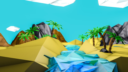 low poly desert landscape with palm trees. 3d render Фото со стока