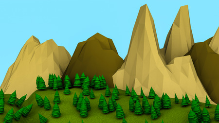 Low poly landscape with trees. 3d render illustration