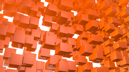Abstract three-dimensional background of orange rectangles. 3d render 免版税图像