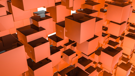 Abstract three-dimensional background of orange rectangles. 3d render Stock Photo