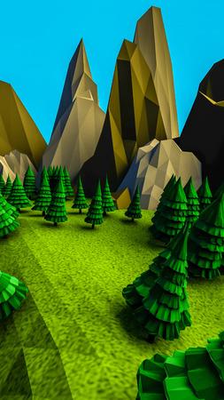 Low poly landscape with trees. 3d render illustration