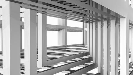 Abstract of three-dimensional rectangular lines. 3d render