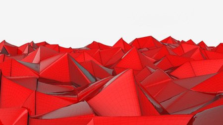 red deformed plane. abstract background. 3d render Banco de Imagens