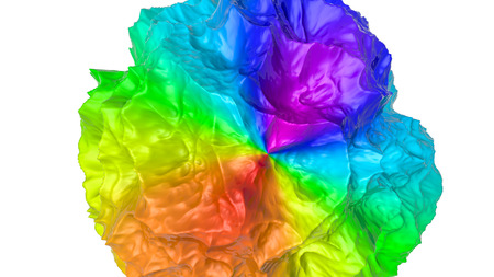three-dimensional plane of iridescent color. 3d render Banco de Imagens - 123004018