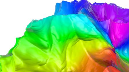 three-dimensional plane of iridescent color. 3d render Banco de Imagens - 123004019